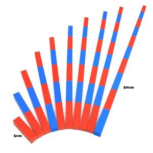 "Image 2 - ילדים צעצועי מונטסורי אדום מקלות ארוכים (5 50 ס""מ) מתמטיקה מוטות מספר עץ חינוך למידה מוקדמת ילד"