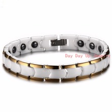 7″*9mm 28.8g Top White Ceramics Magnetic Health Therapy Care Energy Stainless Steel Mens Womens Bracelet Bangle Christmas Gift