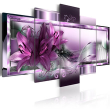 5 Pieces Wall Art Purple lily flower abstract exquisite background Canvas Painting Home Decoratives Paintings Framed