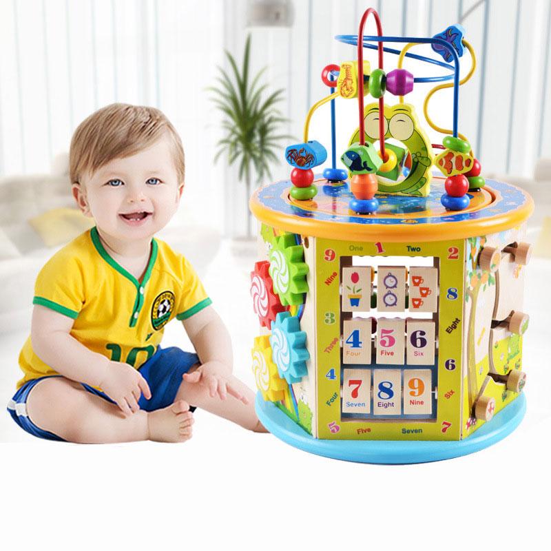 1 PC coffre au trésor en bois multi-fonction hexaèdre perlé avec musique bébé puzzle jouet