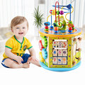 1 st kinderen houten multifunctionele hexahedron kralen kralen schat borst met muziek kindje puzzel speelgoed