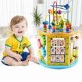 1 unidad de madera para niños multifunción hexahedro con cuentas Cofre del Tesoro con música bebé puzle de juguete