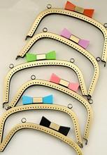 18 CM antyczny brąz monety torebka metalowa ramki 6 kolor cukierki torba na głowę pocałunek zapięcie torba DIY akcesoria torebka uchwyt torby pasek rama tanie tanio purse frame 215g Wieszak Rafarad