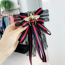 Korea Handmade Lace Striped Bowknot Bee Shirt Pins Neck Bow Tie Apparel Accessories Fashion Jewelry-YHNLB027F