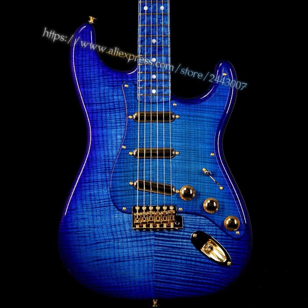GF Custom Shop Masterbuilt Yurit Shishkov 1956 NOS Flame Top Birdseeye Neck Royal Blue Electric Guitar