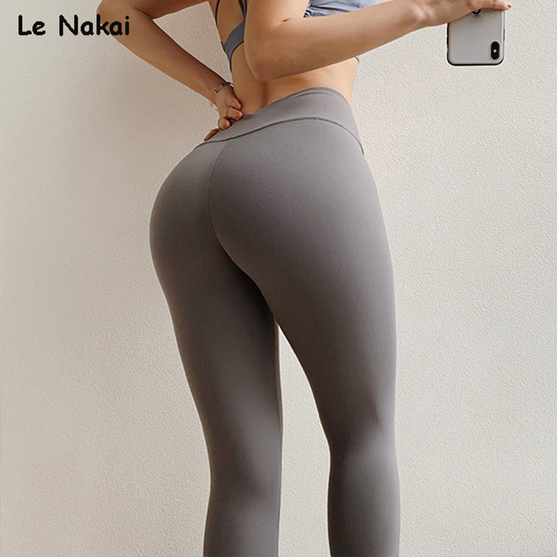 High Waisted Tummy Control Yoga Pants Grey Flex Leggings Sport Women Fitness Scrunch Butt Booty Leggings Gym Running Tights