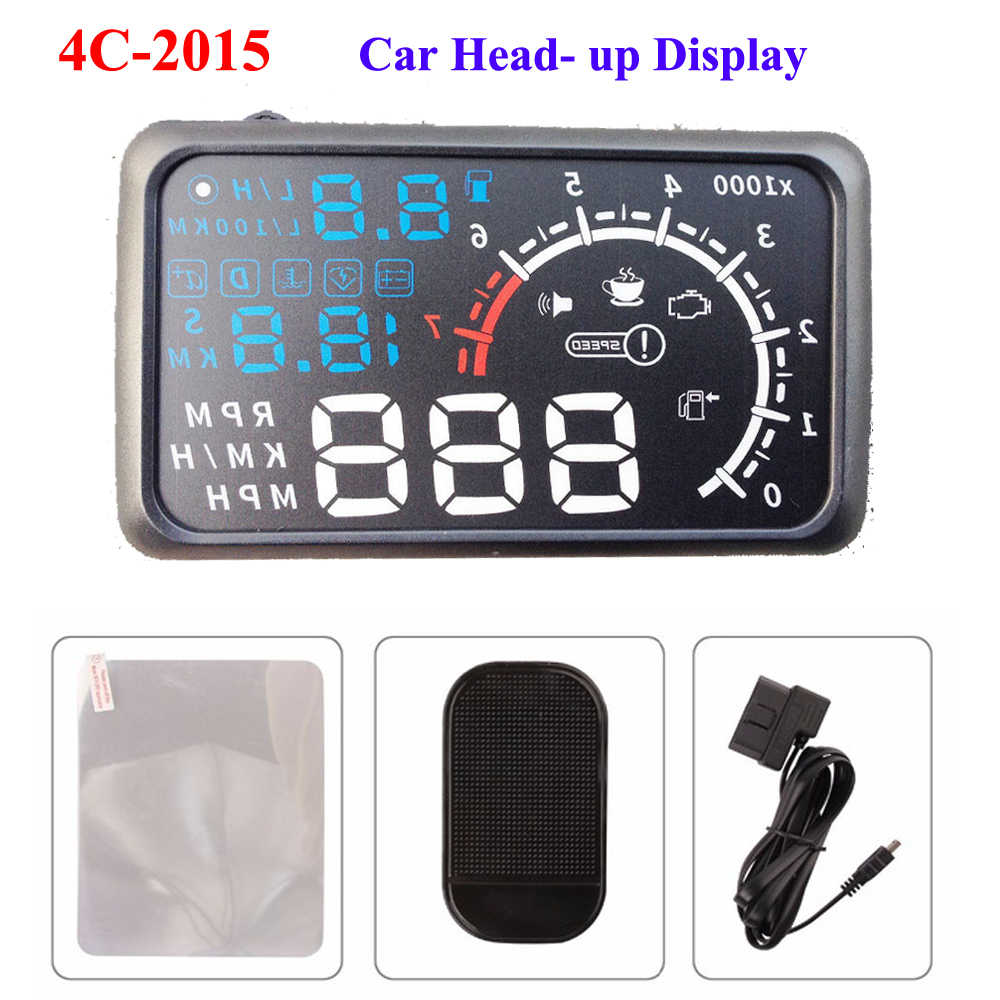 "ActiSafety ASH-4C-2015 Head Up Display Film 5.5"" HUD Windshield Projector OBD2 Cable Car HUD Head-Up Display"