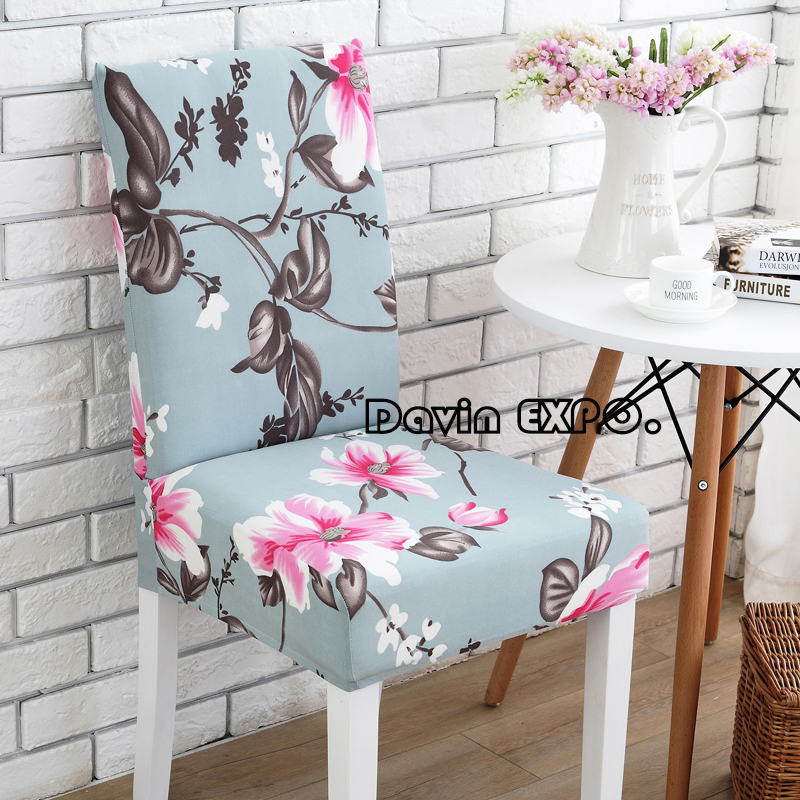 2017 New Pastoral 8 Colors Elastic Cloth Stretch Dining Chair Cover Hotel  Restaurant Wedding Banquet Home Decoration Decor