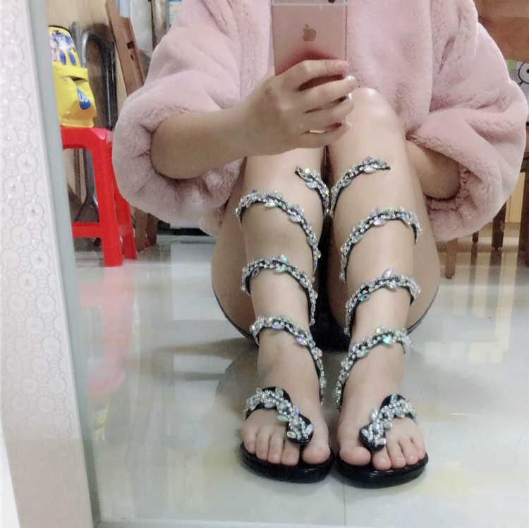 Mùa Hè Sang Trọng Võ Sĩ Giác Đấu Giày Sandal Nữ Đế Bằng Loài Rắn Punk Đá Gót Bằng Giày Sandal Nữ DỰ TIỆC CƯỚI Giày