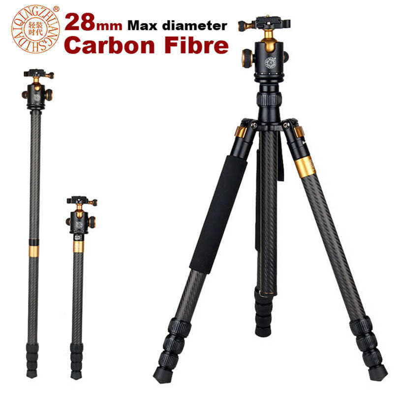 New QZSD Q1088C Professional Carbon Fiber Tripod Monopod With Ball Head For DSLR Camera / Portable Travel Camera Tripod Stand qzsd carbon fiber q 188c monopod professional portable l camera tripod for slr photography handle ball head dhl free shipping