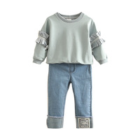 Baby Suit Spring 2019 New Girl Boy Outfit Children's Round Collar Jacket Jeans Leisure Sweatpants Denim Trousers Children Suits
