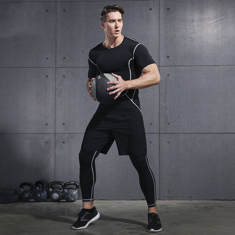 2019 Gym Running Sets Men's Fitness Compression Tights Sportswear Stretchy Training Sports Clothes Jogging Suits 3pcs - 2