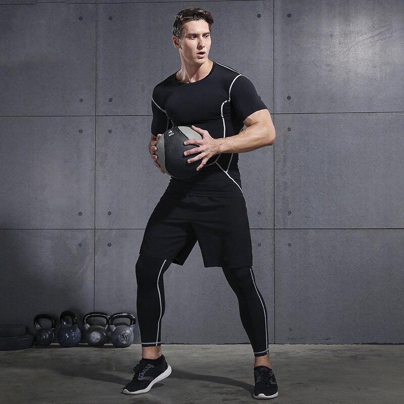 2020 Gym Sets männer Fitness Compression Strumpfhosen Sportswear Stretchy Training Sport Kleidung Jogging Anzüge 3 stücke - 2