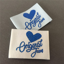 Beautiful Blue Shinning Polyester Material Clothing Labels Woven