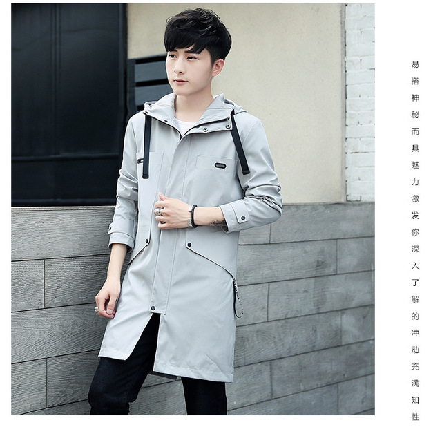 Spring and autumn long style windbreaker youthful vigor youth lapel leisure coat coat single row zipper with hat