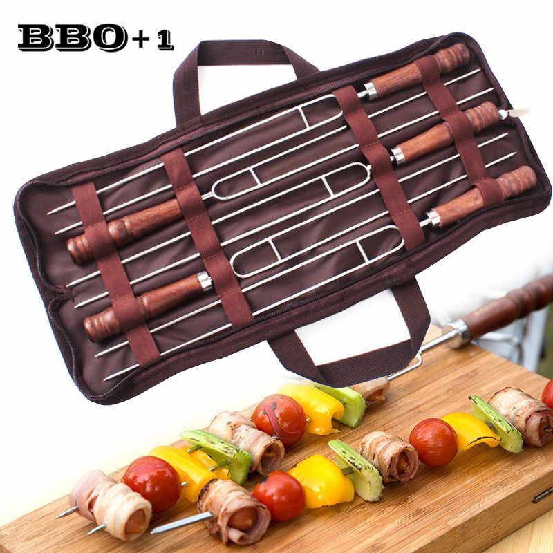 5 pçs 16.5 '42 (42 cm) u forma espetos para churrasco aço inoxidável churrasco kebab espeto madeira lidar com garfo para churrasco portátil saco de armazenamento de viagem