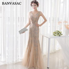 BANVASAC 2018 V Neck Gold Sequined Long Mermaid Evening Dresses Vintage Lace Party Bow Sash Tulle Prom Gowns