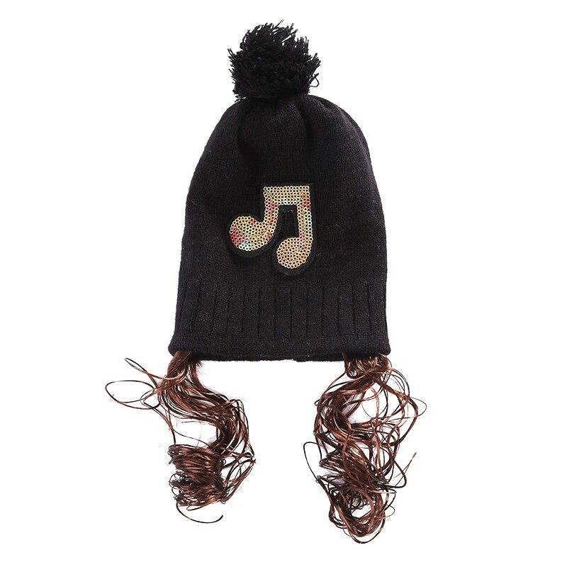 Niños invierno cálido punto Hat Beanie lindo lentejuelas nota patrón ...