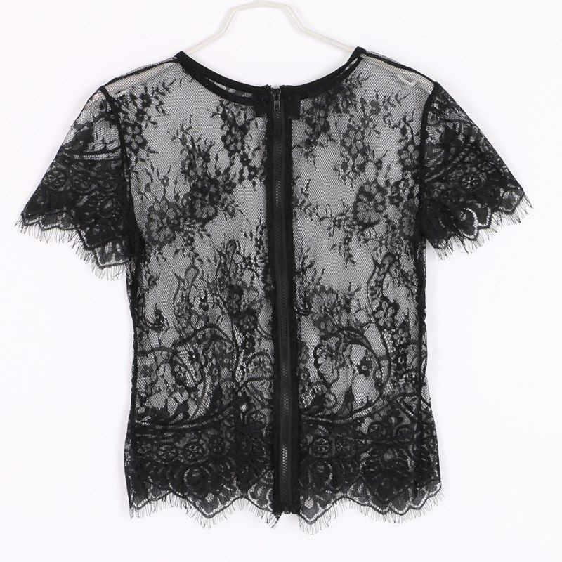 Mode Sexy Bloemen Borduren Blouse Vrouwen Kant Transparant Elegante Shirt Zomer 2018 Lange Mouwen Party Korte Hollow Out Tops