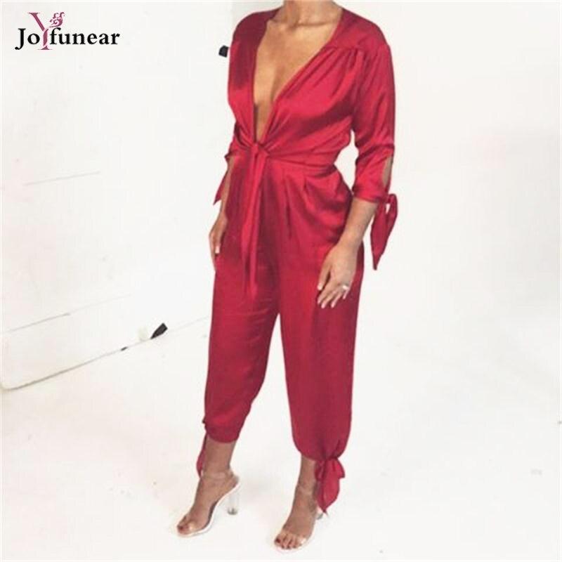 Sexy Women v- neck Bodycon Jumpsuit loose Long Sleeve Tie Waist Bodysuit Stain Night Club Wear Macacao Feminino Rompers
