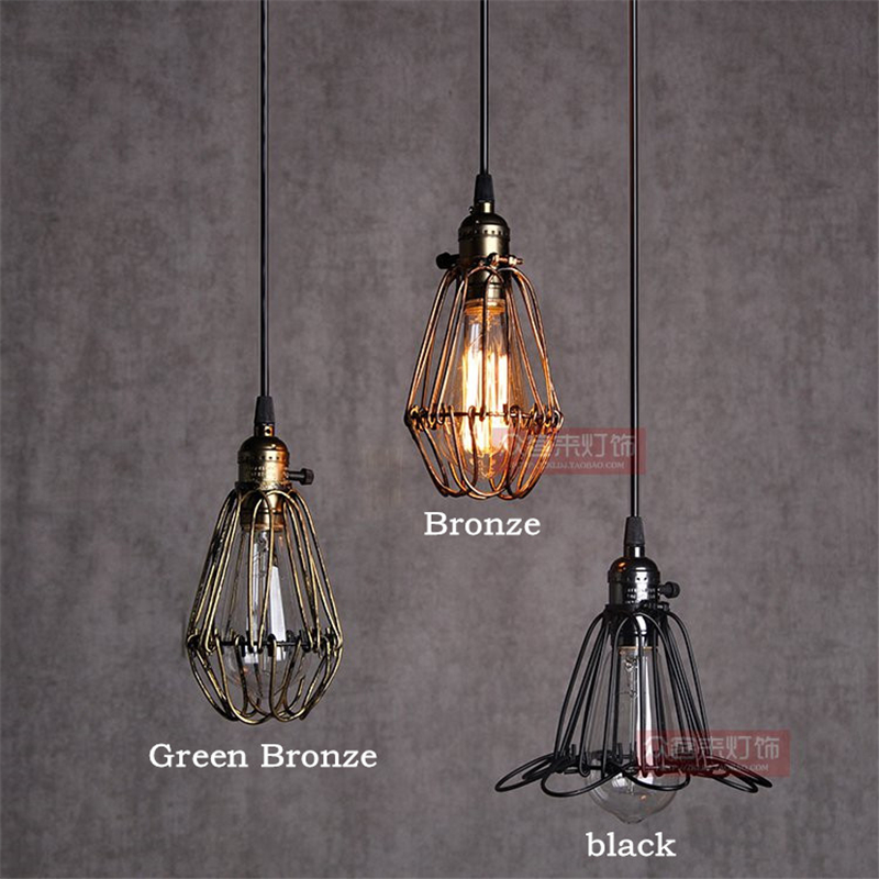 Diy antique brass retro guard wire cafe loft droplight fixture iron diy antique brass retro guard wire cafe loft droplight fixture iron cage pendant light hanging fitting metal frame lamp holder in pendant lights from lights greentooth Image collections
