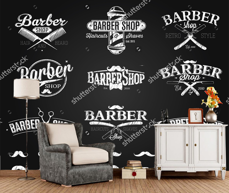 Armario Ikea Pax Esquina ~ Custom barber shop wallpaper, Barber Shop Emblems chalk drawing, modern mural for living room