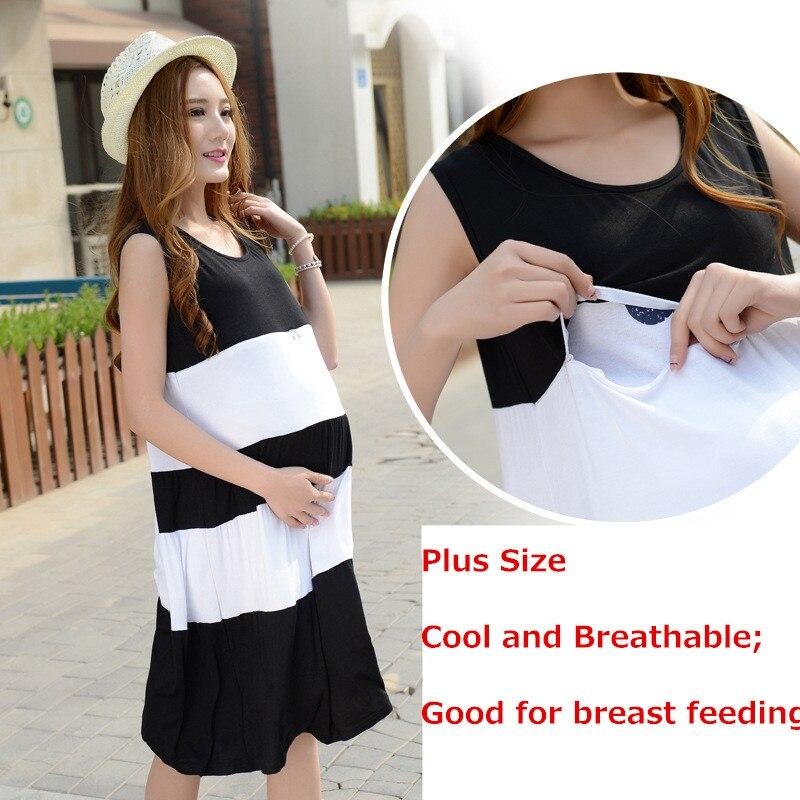 Moms Ärmlös Maternity kläder Striped Amning Dress Graviditet Kläder för gravida kvinnor Moderskapsklänning Vestdios