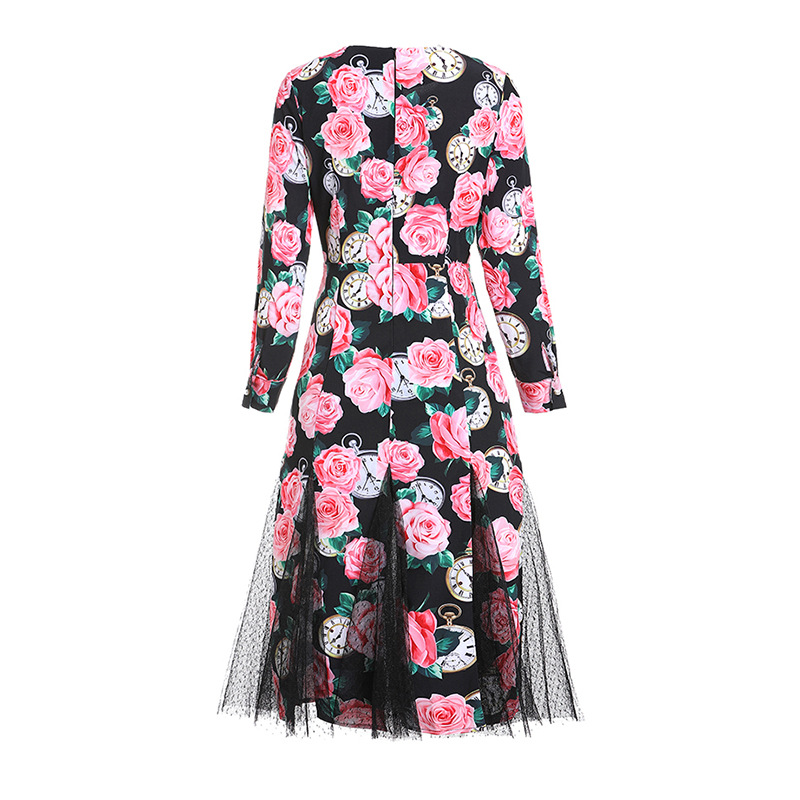 High quality mesh patchwork dress New 2019 spring summer runways floral print diamonds dress A188 in Dresses from Women 39 s Clothing