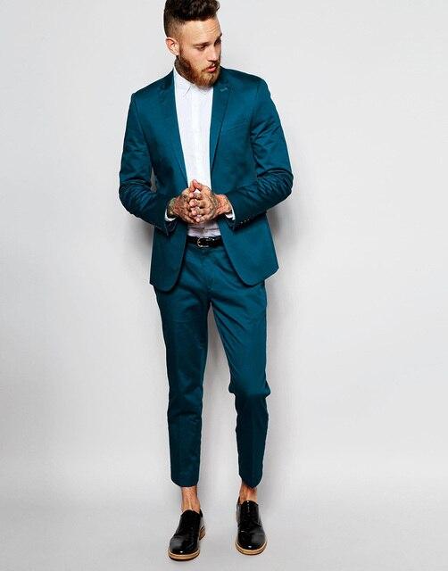 New Style Groomsmen Peak Lapel Groom Tuxedos Green Teal Yellow Purple Men Suits