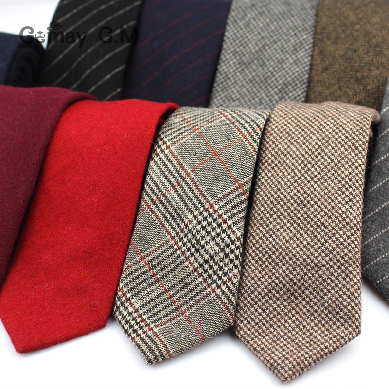 Fashion Wool Ties For Men Skinny Solid Casual Neckties Corbata Slim Striped Necktie For Wedding Gift Suit Cravat Accessories