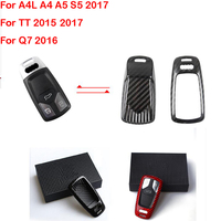 Carbon Fiber Smart Key Cover Key Case Key Fob box For Audi New A4 A4L A5 S5 2017 Q7 2016 TT 2015 2017 Car Accessories Covers|Steering Wheels & Steering Wheel Hubs|Automobiles & Motorcycles -