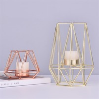 Light Luxury Nordic Ins Style Metal Simple Candle Holder Golden Rose Gold Table Scented Candle Holder