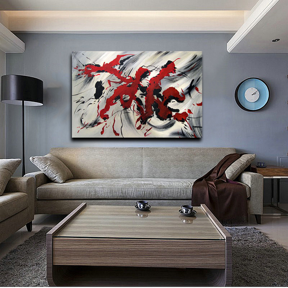 Large Modern Abstract Oil Painting Red Letter Line Flower Home Decoration Wall Art On Canvas 1 Piece Set Picture For Living Room