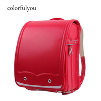 Colorfulyou 2019 Orthopedic Japanese School Bags Waterproof PU Backpacks Hasp Randoseru solid Backpack New Children School Bags
