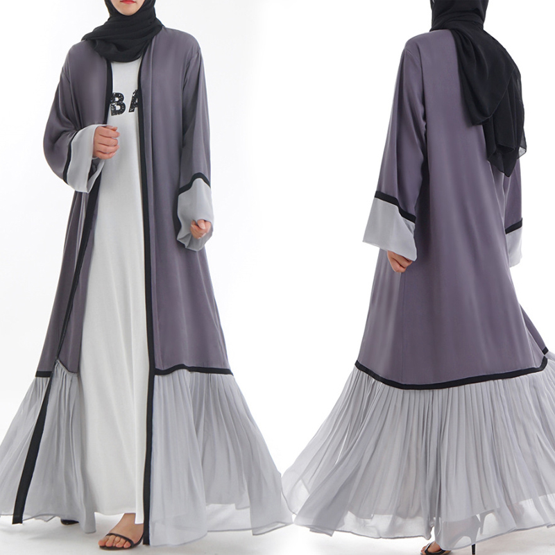 Abaya Dubai Kaftan Malaysia Islam Pleated Chiffon Kimono Cardigan Muslim Hijab Dress Women Robe Caftan Turkish