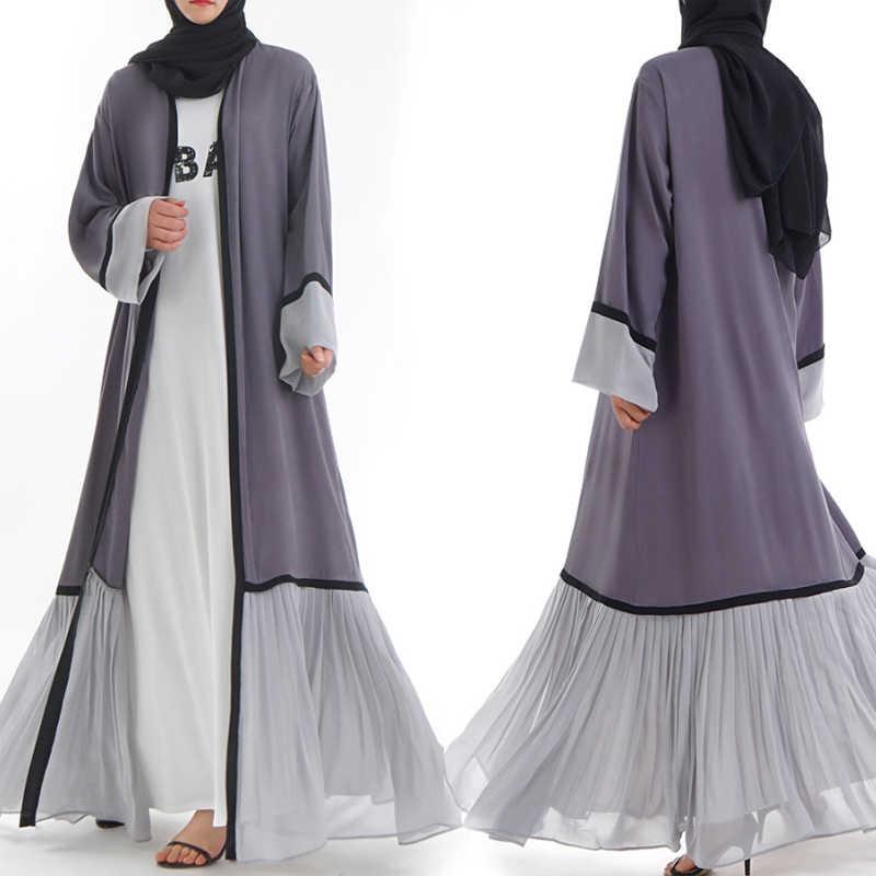 Abaya Dubai Kaftan Malaysia Islam Lipit Chiffon Kimono Cardigan Muslim Hijab Wanita Gamis Kaftan Islam Turki Pakaian
