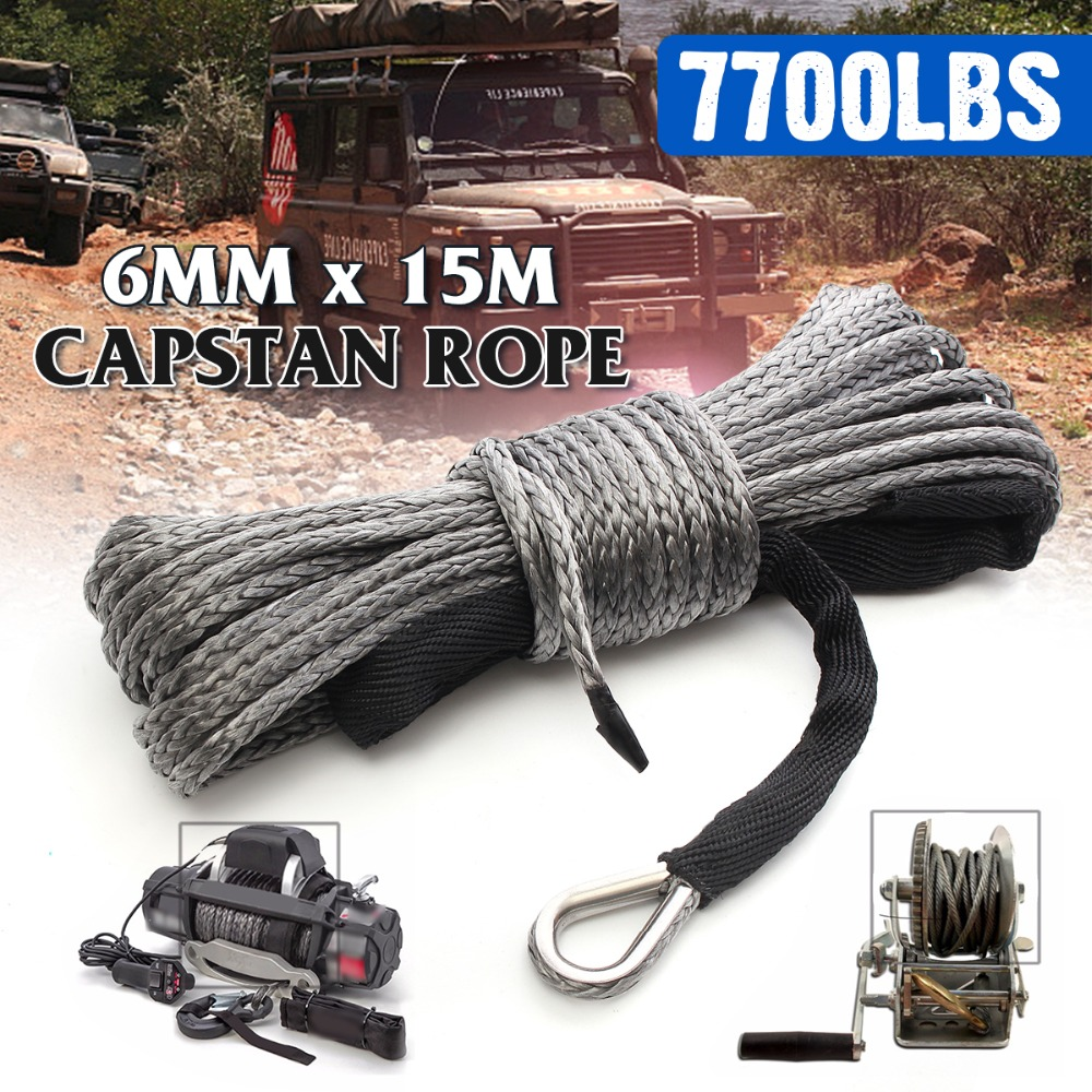 15m 7700LBs Winch Rope String Line Cable with Sheath Gray Synthetic Towing Rope Car Wash Maintenance String for ATV UTV Off Road