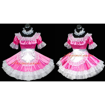 Sexy Sissy Maid Satin Pink Dress Uniform Cosplay Costume Tailor-made[G469]