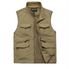 Brieuces Spring and Autumn Men Cotton Vest Military  Mesh Photography Multi Pocket Casual Plus size S-3XL