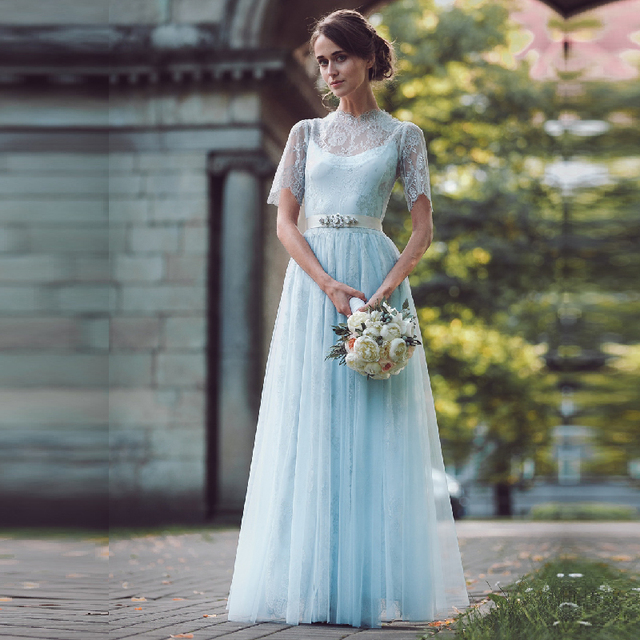 Colored Boho Lace Wedding Dress Graceful Light Blue Short Sleeve ...