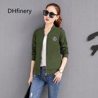 DHfinery spring autumn jacket women long sleeve O neck Baseball clothes black green orange casual casaco feminino bs5730