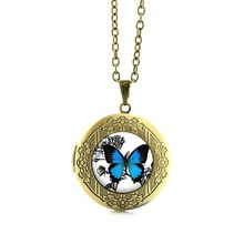 TAFREE Vintage Blue Butterfly Necklace