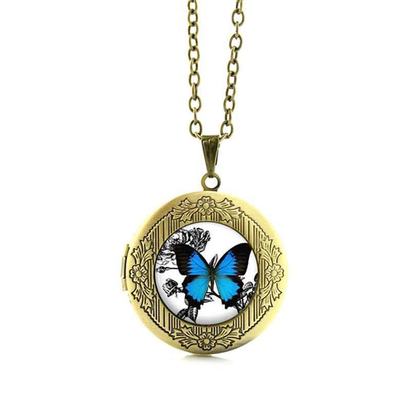Tafree Винтаж Голубая Бабочка ожерелье насекомых изображение медальон Кулон Шарм Подарки для женщин стекла фото ожерелье Jewelry N467