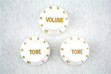 1 Set of Electric Guitar Control Knobs 1 Volume&2 Tone Knobs For ST SQ Electric Guitar White цены