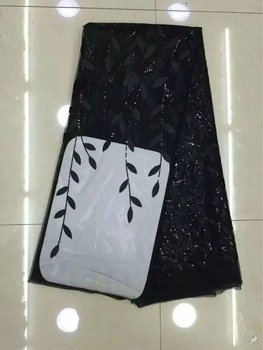 Latest Black French African Lace Fabric High Quality African Embroidered Tulle Lace Fabric for 2017 Wedding Dress