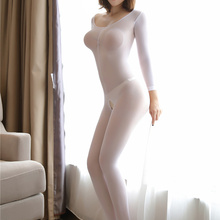 High Sexuality Bodystocking Woman Sexy White Lingerie Crotchless Body Stocking Sexy Underwear Nude E
