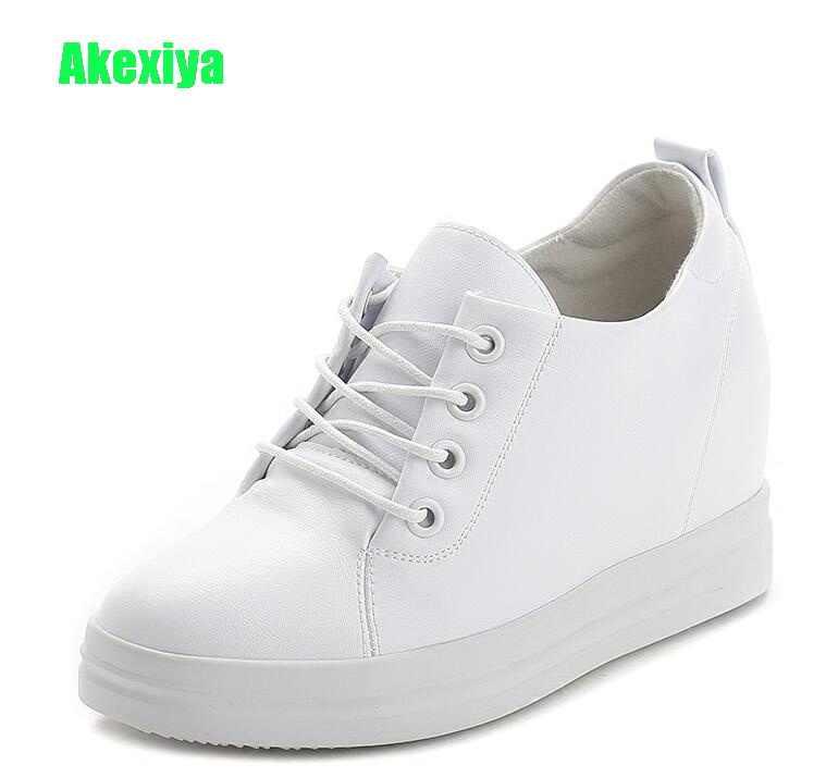2e4d1a7e33d944 Akexiya/Летняя женская обувь на платформе, повседневная обувь на скрытом  каблуке, женские белые
