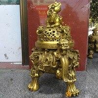 effective HOME House Shop hall lobby thriving business money Exorcise evil spirits talisman LION dragon brass censer statue