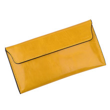SUB 8 design genuine leather female wallet girl vintage First layer of leather oil waxing oil cowhide envelope women card holder
