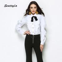 Seamyla Brand New Fashion Runway Blouse Elegant Long Sleeve White Top Shirts Women Ruffle Winter Office